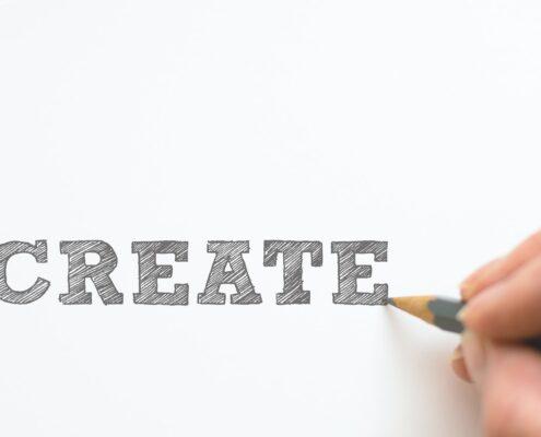 Bleistift schreibt Create